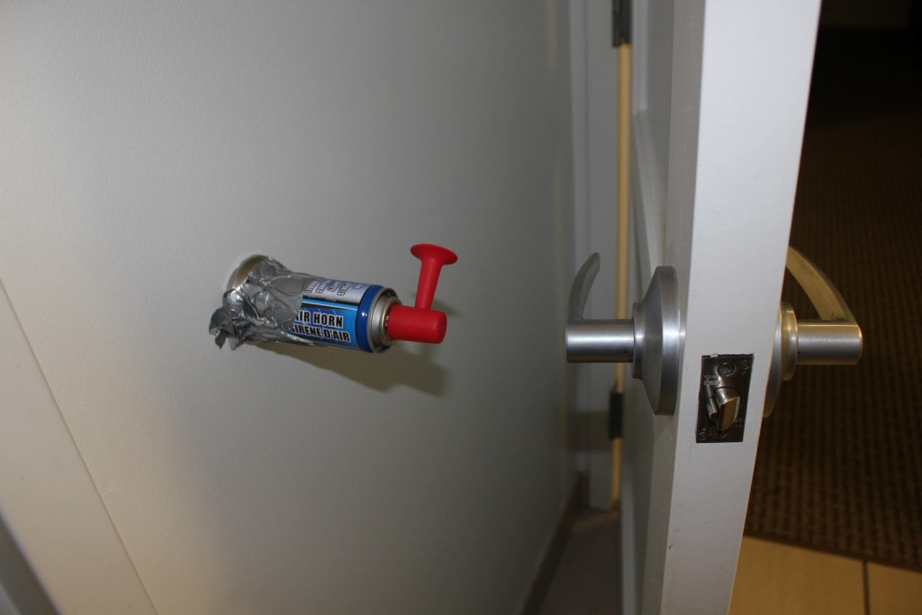 install the air horn in door wall protector