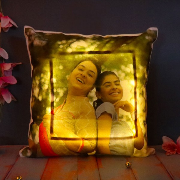 LED personalised cushion for sister