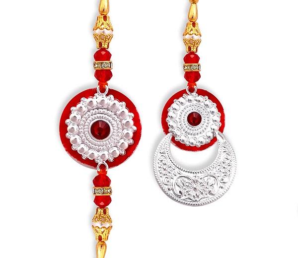 Pure Silver Bhaiya Bhabhi Rakhi-Send rakhi online