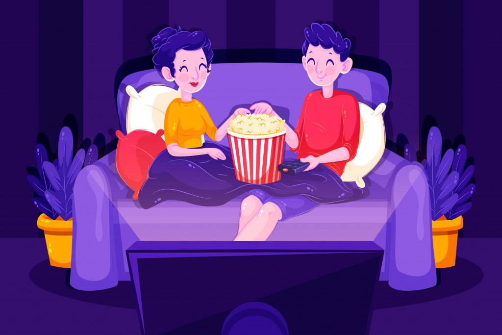 couples watching movie together