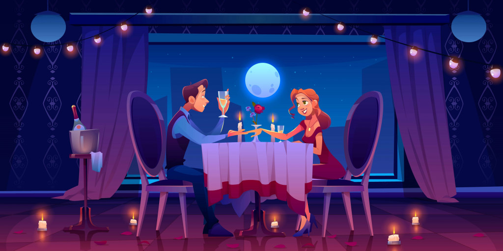 couples doing dinner under moonlight