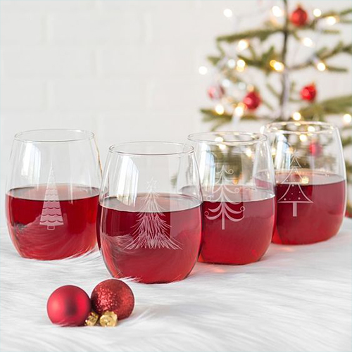 A set of engraved wine glasses