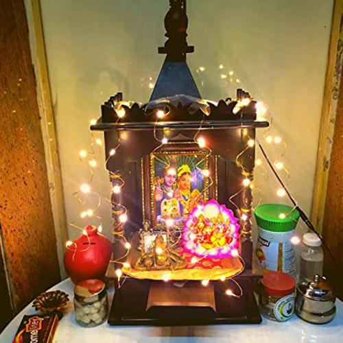 LED flower string light at Pooja Room