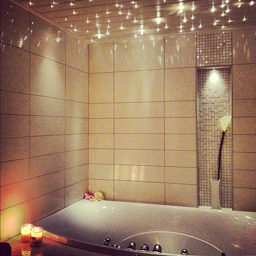 Bathroom with String lights