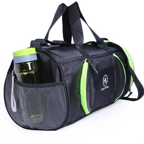 A gym bag with compartments