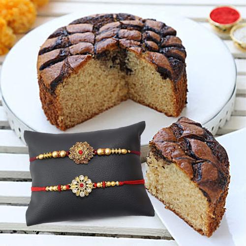Gold plate designer Rakhi with Cake