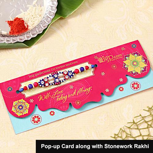 Pop-up Card along with Stonework Rakhi
