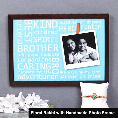Floral Rakhi with Handmade Photo Frame