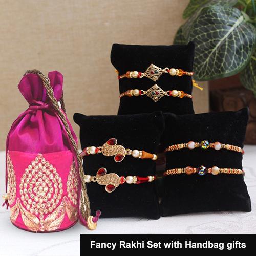 Fancy Rakhi Set with Handbag gifts