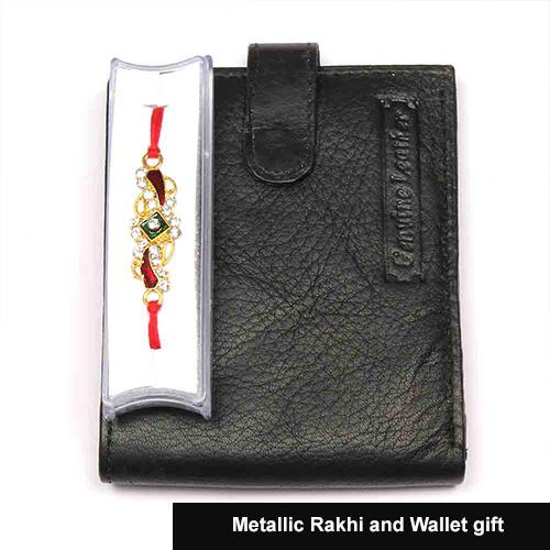Metallic Rakhi and Wallet gift