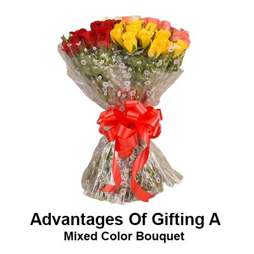 Преимущества подарка разноцветного букета