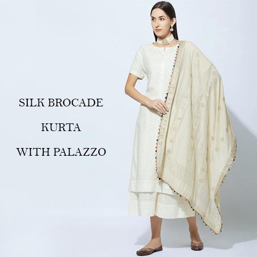 Silk Brocade Kurta with Palazzo