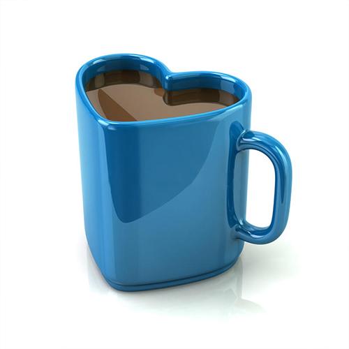 3D Blue Heart Mug