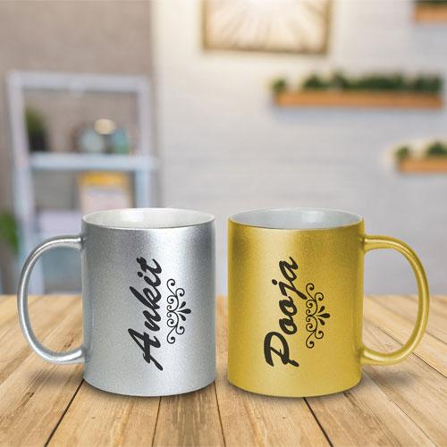 Customized Love Golden & Silver Couple Mugs