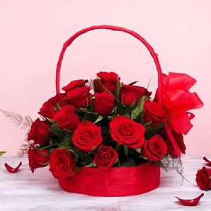 Valentine Flowers in Basket