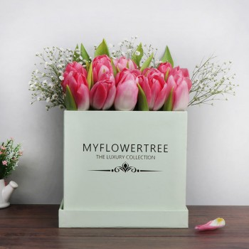 20 Pink Tulips in Myflowertree Light Green Square Box