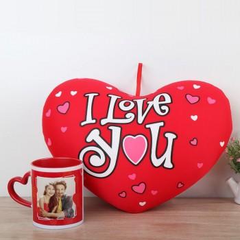 One Heart Shape Cushion with Personalised Red Heart Handle Ceramic Mug