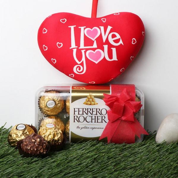 Small Heart Shape Cushion with 16 pcs Ferrero Rocher Chocolate