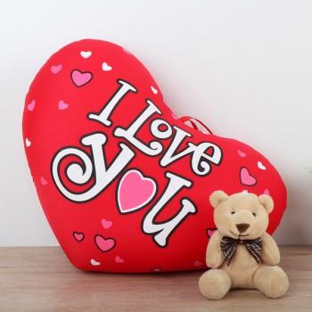 Heart Shape Love You Cushion with Teddy Bear