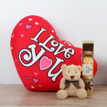 Heart Shape Cushion with Teddy Bear and Ferrero Rocher Chocolate