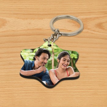 One Personalized Star Shape Wooden Photo Keychain