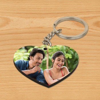 One Personalized Heart Shape Wooden Keychain