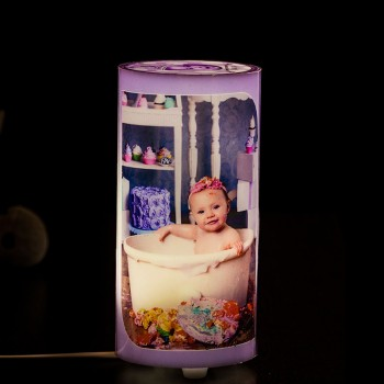 Personalised Cyclinder Shape Photo Lamp