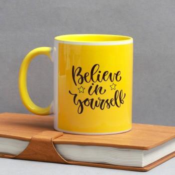 One Printed Quote Yellow Handle Ceramic Mug