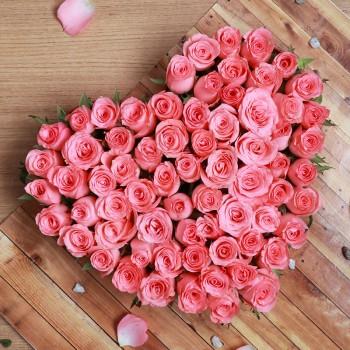 35 Pink Roses Heart Shape Arrangement