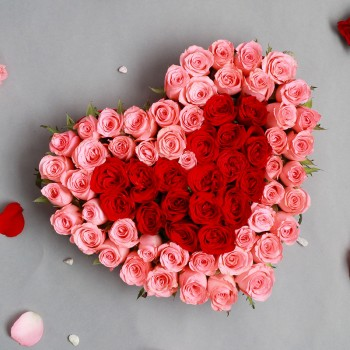 35 (Pink and Red) Roses Arrangement in Heart Shape