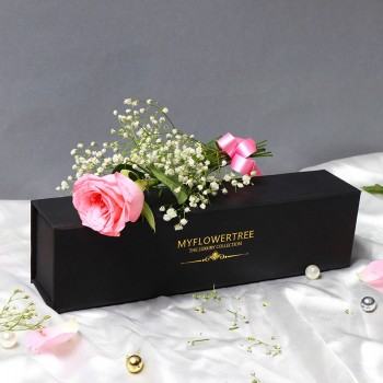 Single Light Pink Rose in a MFT Black Luxury Box