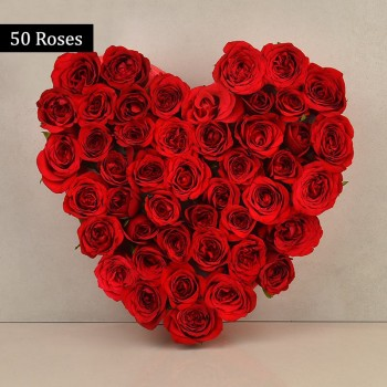 Heart Shaped Arrangement of 50 Red Roses