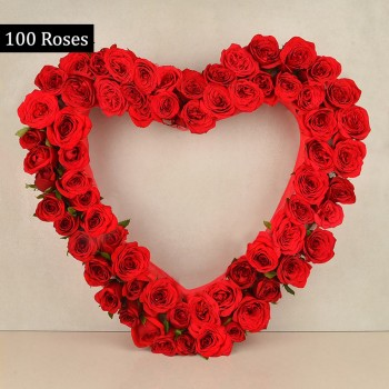 A Heart-shaped arrangement of 100 Red Roses