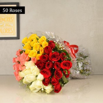 50 Colorful Roses Bunch