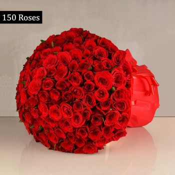150 Red Roses with Paper Packing
