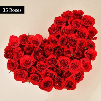 Heart Shaped Arrangement of 35 Red Roses