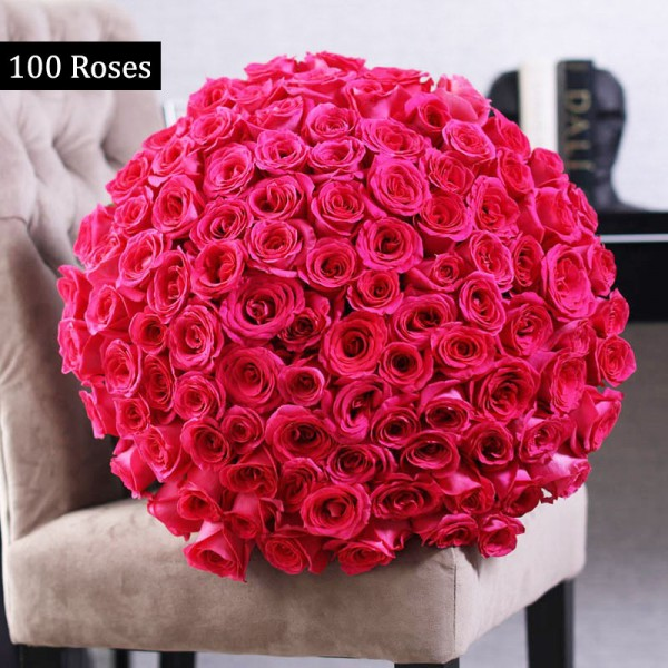 100 Pink Roses Bunch