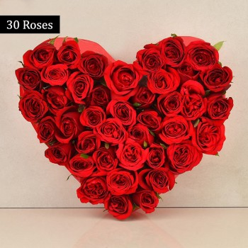 Heart Shaped Arrangement of 30 Red Roses