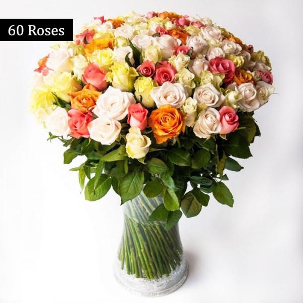 60 Mixed Roses (Orange,Yellow,Pink,White) Bunch