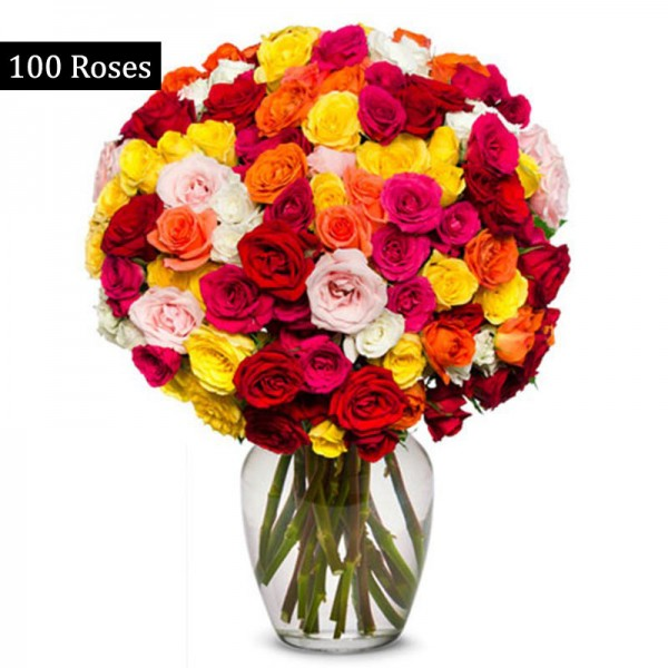 100 Sparkling Mixed Roses Bunch