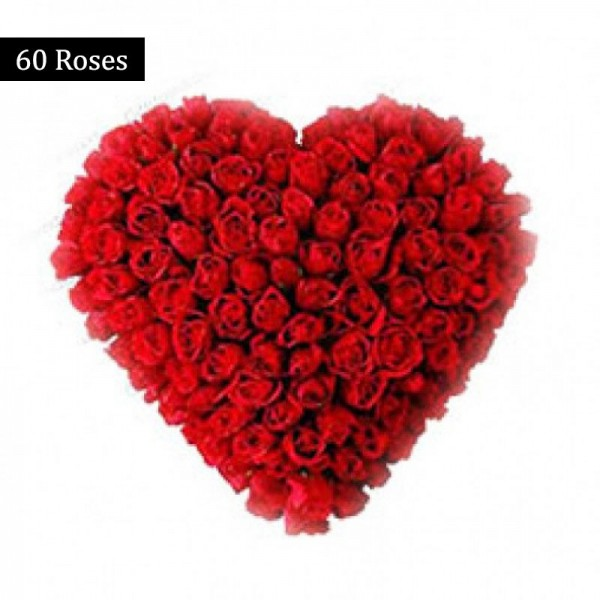 A Heart-Shaped arrangement of 60 Red Roses