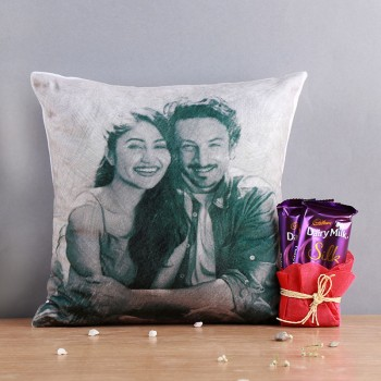 One Personalised Sketch Art Cushion with 2 Dairy Milk Silk Chocolate
