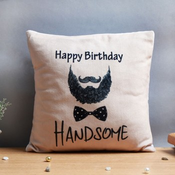 Happy Birthday Printed Black Handle Cushion for Him