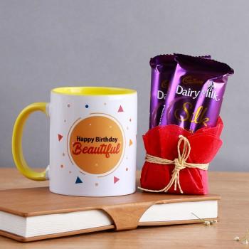 Happy Birthday Printed Coffee Mug with 2 Dairy Milk Silk Chocolate