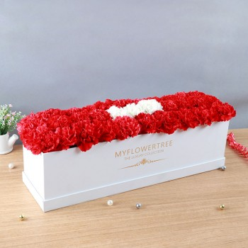 36 Carnations (Red and White) in a White MFT Luxury Box