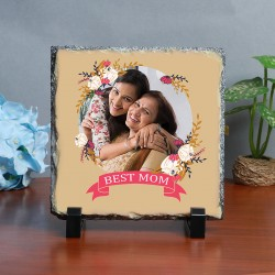 One Best Mom Printed Personalised Square Photo Stone