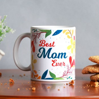 One Best Mom Ever Printed Theme White Handle Mug