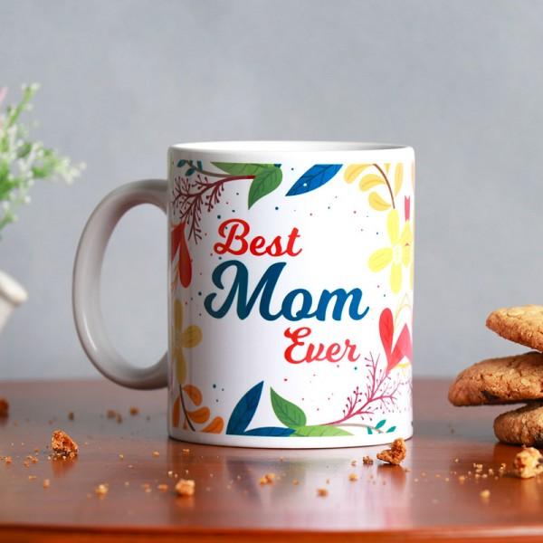 One Best Mom Ever Printed Theme White Handle Mug