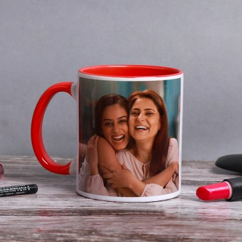 One Personalised Red Handle Mug For Mom