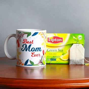 "One "" Best Mom Ever"" Printed Theme White Handle Mug with One Packet of Lipton Green Tea"